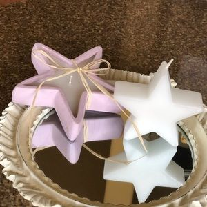 Star Candle Set, Lot of 2, White & Lavender